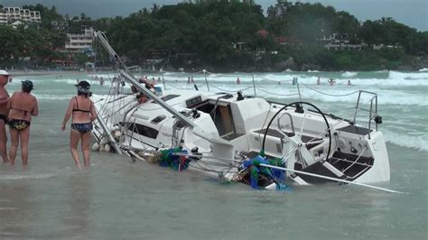 sailboat accident 2010 phuket king s cup regatta accident sailboats beached