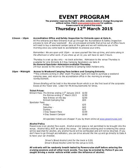 program templates for events sle event program 6 documents in pdf