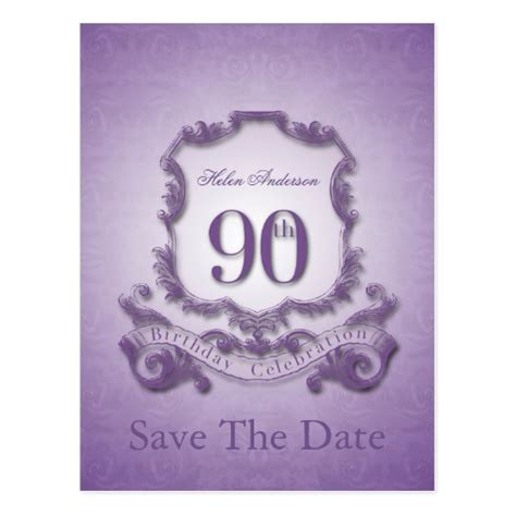 save the date 90th birthday personalized postcard zazzle
