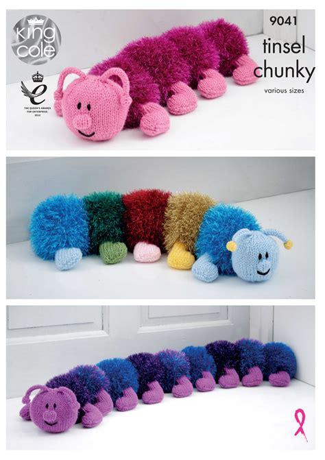 draught excluder knitting pattern king cole tinsel chunky knitting pattern caterpillar