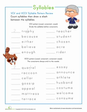 vccv pattern words activities syllable patterns vccv worksheet education com