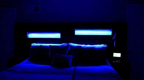 led lights bed headboards custom l e d s in custom headboard king size bed youtube