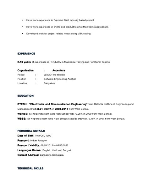 Sle Resume For 2 Years Experience In Mainframe by Isita Pal Resume 1