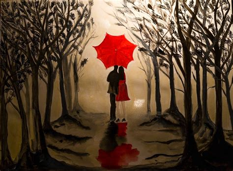 couple wallpaper with umbrella romantic couple under a red umbrella aquarell by