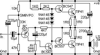 watt transistor tip 41 4w audio lifier circuit based transistor tip41 187 circuitszone