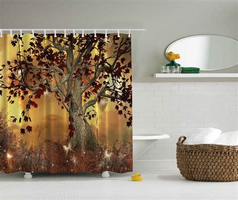 art shower curtain mystical magical forest tree fairy fabric shower curtain