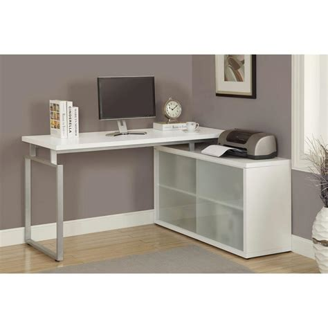 white hollow corner desk monarch specialties hollow l shaped desk with frosted