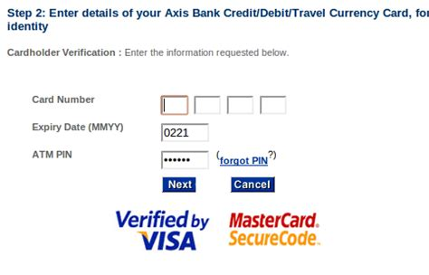 axis bank credit card net banking registration banking axis bank 3d secure pin registration