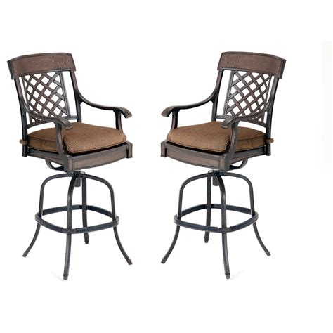 Bar Height Patio Set With Swivel Chairs Shop Garden Treasures Set Of 2 Herrington Aluminum Swivel Patio Bar Height Chairs At Lowes