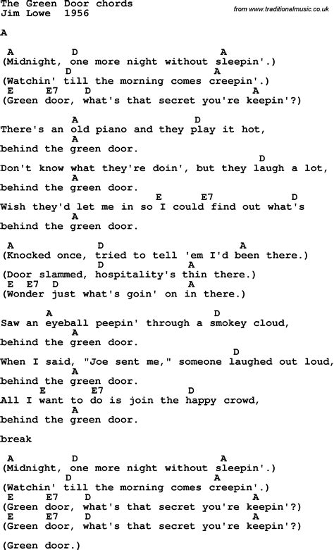 song in song lyrics with guitar chords for the green door jim
