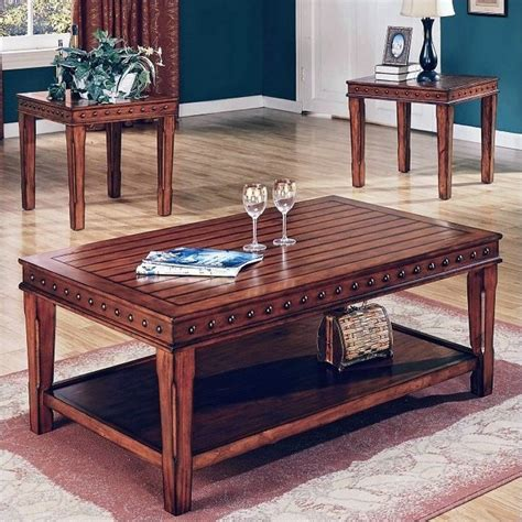 End Table And Coffee Table Sets Steve Silver Company Odessa Coffee Table And End Table Set In Chestnut Da2500