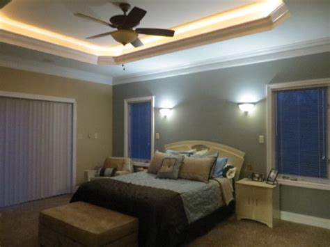 Lighted Tray Ceiling Master Bedroom Lighted Tray Ceiling His And Wall Sconces On Each Side Of Bed With Their