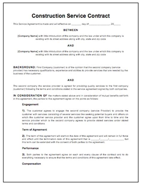 construction work contract template free construction contract contract templates