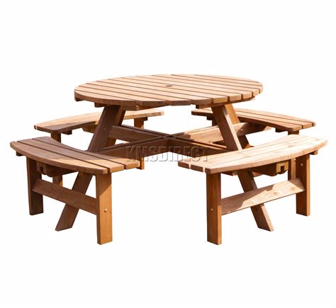 round table and bench garden patio 8 seater wooden pub bench round picnic table
