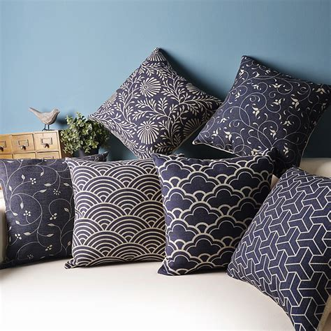 japanese pattern cushions chinese and japanese style blue and white pattern