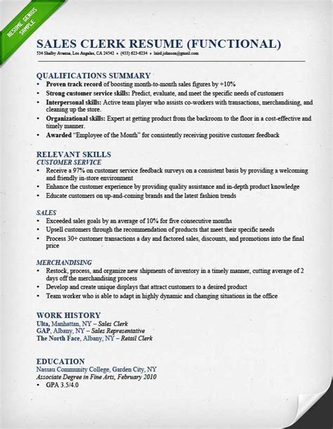Resume Sle Clerk Functional Resume Template For Stay At Home