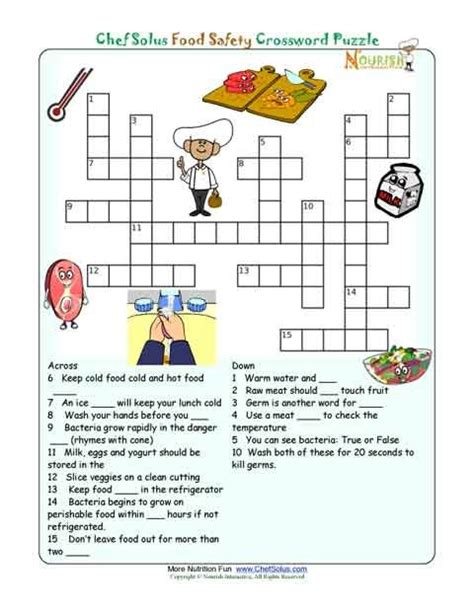 printable nutrition puzzles for adults printable nutrition crossword puzzle food safety