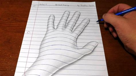 how to draw a 3d hand trick art optical illusion youtube