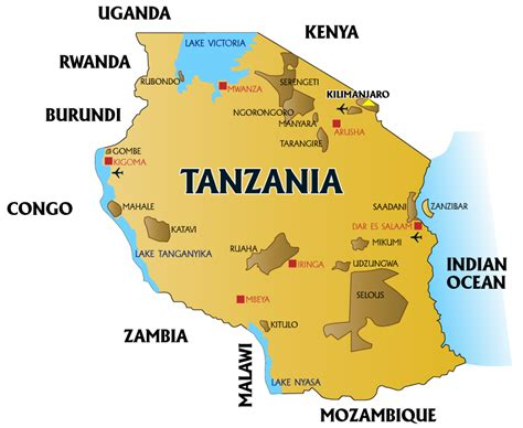 map of tanzania blue rhino expeditions tanzania facts