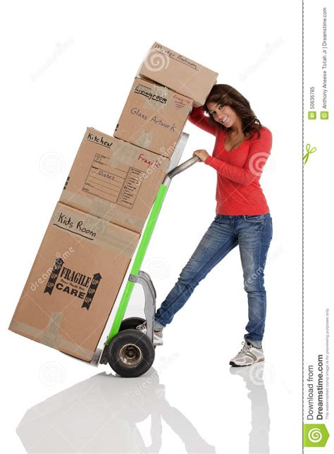 moving with a moving boxes with with a truck or dolly stock photo image 50636785