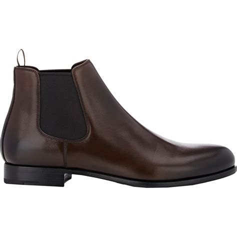 prada boots lyst prada s chelsea boots in brown for