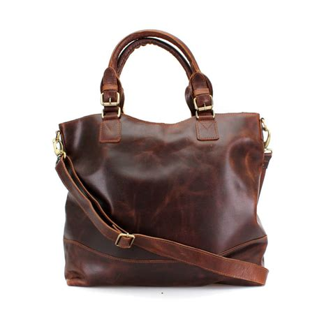 Handmade Leather Store - handmade leather classic tote by the leather store