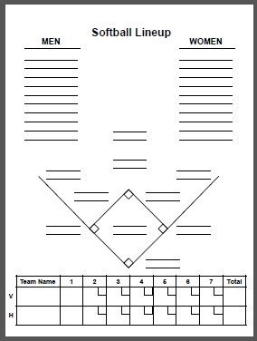softball lineup template softball field position sheets pictures to pin on