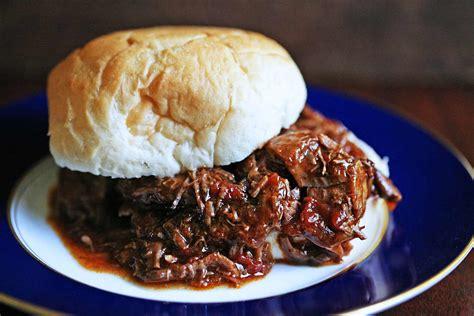 best roast beef recipes braised bbq beef sandwich recipe simplyrecipes