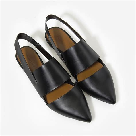 Black And White Flat Shoes pointed slingback pumps black flats shoes charles