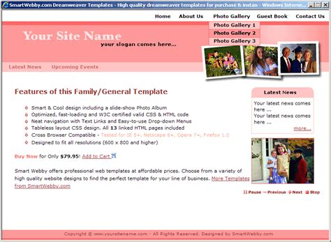 cool dreamweaver templates cool css family template