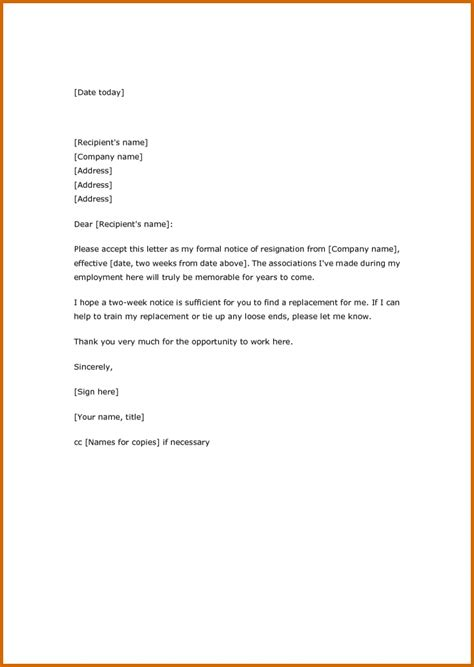 Resignation Letter Format Text 6 How To Write A Two Weeks Notice Letter Lease Template