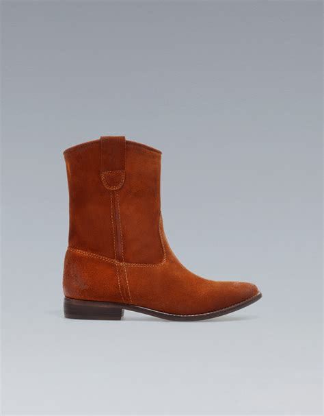 zara suede cowboy ankle boot in brown russet lyst