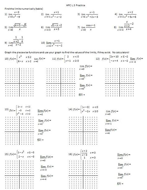 one sided limits worksheet take it to the limit insert clever math pun here