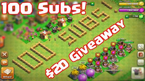 Clash Of Clans Giveaways - clash of clans 100 subscriber special giveaway 20 gift card youtube