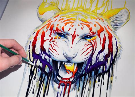 colorful tiger painting www pixshark images galleries with a bite