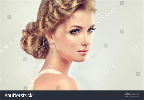 beautiful model with elegant hairstyle stock photo beautiful model girl with elegant hairstyle woman with
