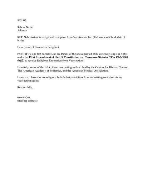 Vaccination Exemption Letter Sle Immunization Religious Exemption Letter Legal Letter Templates Religious