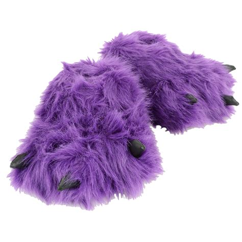 funky slippers purple novelty padded faux fur fluffy funky