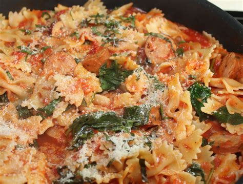 bow tie pasta with chicken sausage and spinach just one
