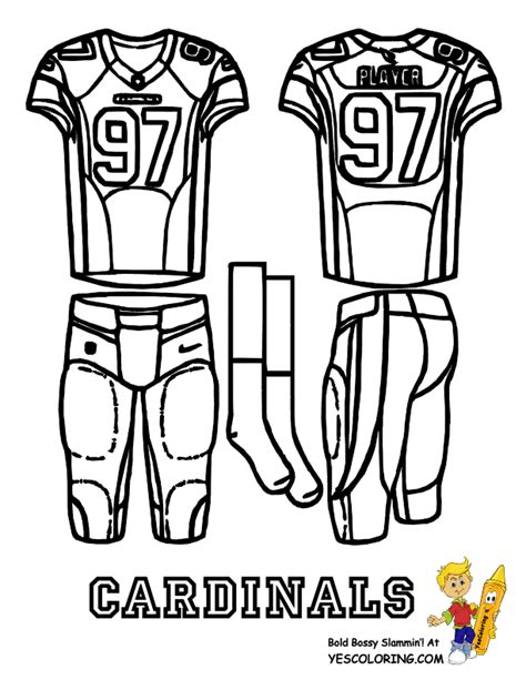 nfl jersey coloring pages free coloring pages of nfl cardinals