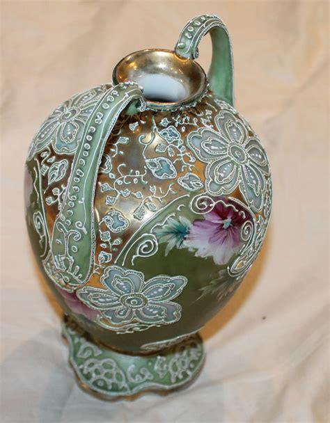 Nippon Porcelain Vase by Bargain S Antiques 187 Archive Nippon Moriage Porcelain Handle Vase Bargain