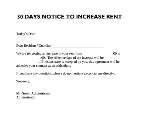 Rent Increase Letter Format rent increase letter 8 free documents in pdf word