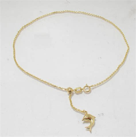 adjustable cable ankle bracelet anklet 14k yellow gold ebay