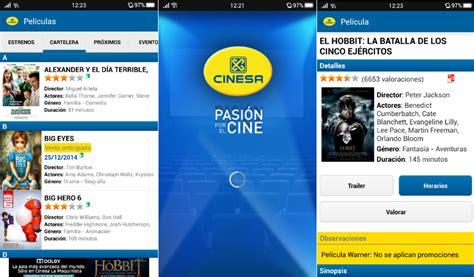 comprar entradas cine cinesa aplicaciones de cine consulta horarios cartelera y
