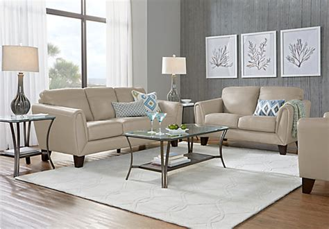1 943 00 livorno beige leather 3 pc living room