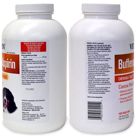 aspirin walmart vetrin chewable canine buffered aspirin 325 mg 100 tablets