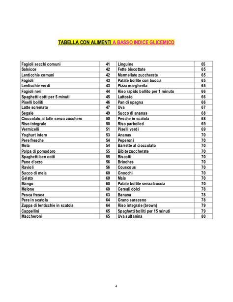 tabella alimenti a basso indice glicemico indice glicemico