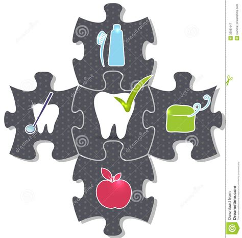 dental health puzzle stock vector image of background