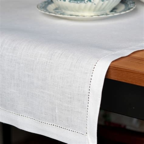 white linen hemstitched table runner linen cotton