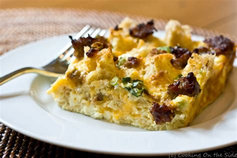 recipe sausage breakfast casserole cooking on the side